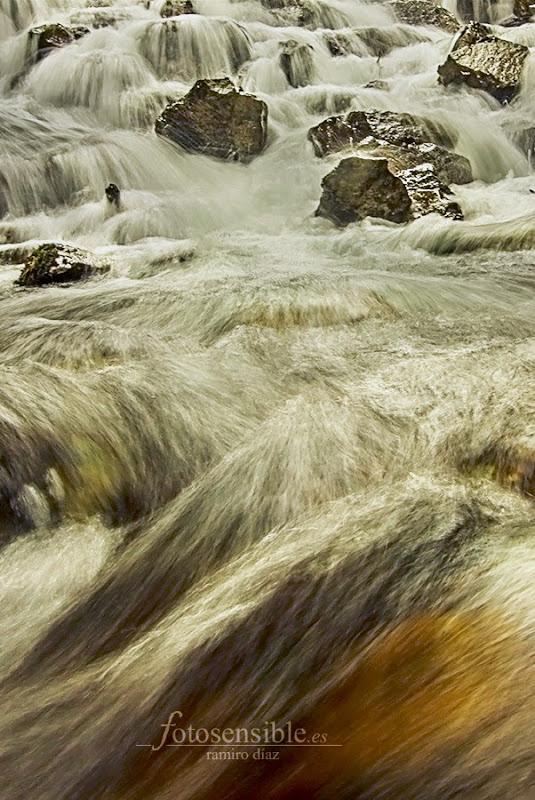 Baja el río salvaje, vistiendo de bronce y plata la corriente.